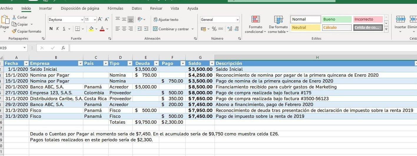 Plantilla en excel para administrar las cuentas por pagar gratis y de forma sencilla.