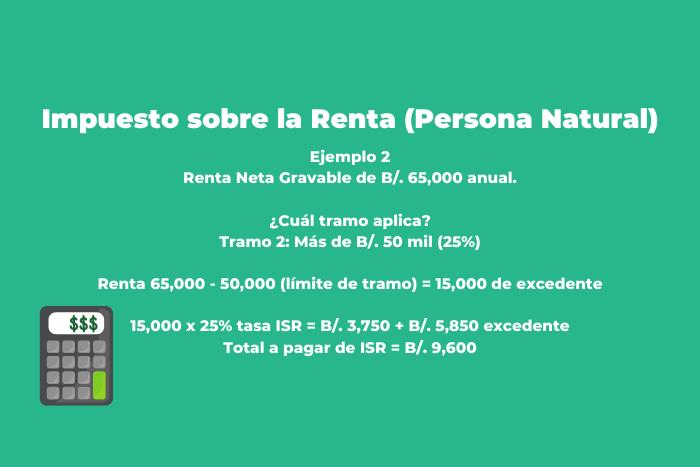 Ejemplo de Calculo de Impuesto Sobre la Renta Persona Natural Panama con ingresos superiores a 50,000 anual